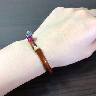 西藏雞血藤手鐲 有節陽藤(纏線) 6.3mm粗、13.5~15cm手圍。文玩 天然藤鐲 藥鐲