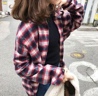 ❤️(INSTOCK) red checkered flannel plaid grid outerwear button up shirt