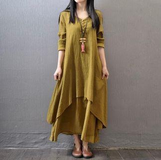 Plus Size Woman Long Sleeves Dress