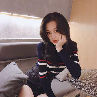 ❤️(INSTOCK) ulzzang ribbed colourblock vintage blue red black white pullover sweater long sleeved shirt ribbed