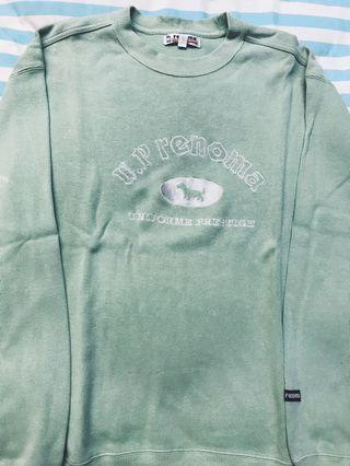 Green Mint Cyan Sweater Oversize Branded U.P. Renoma Thrift Store Vintage Top Cute Hot Dog