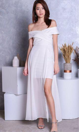 Edith crossover maxi in white dress