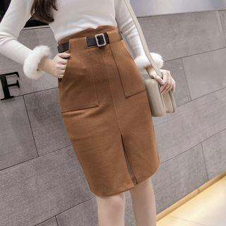 🆕🇰🇷🇨🇳 brown knee highwaisted skirt
