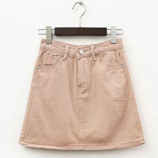 🆕🇰🇷🇨🇳 uk8 pink denim a-line highwaisted skirt