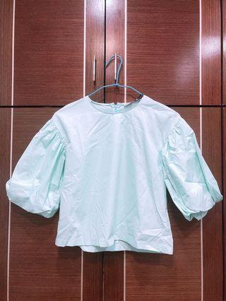全新 👸🏻公主風👸🏻正版ZARA公主風格上衣❤️歐美風 蒂芬妮綠上衣 短版