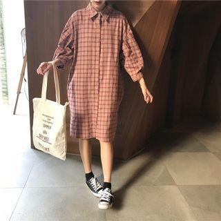 格紋七分袖襯衫連身裙