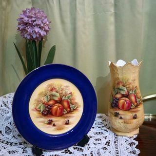 Aynsley Orchard Gold Fruit Plate and Vase