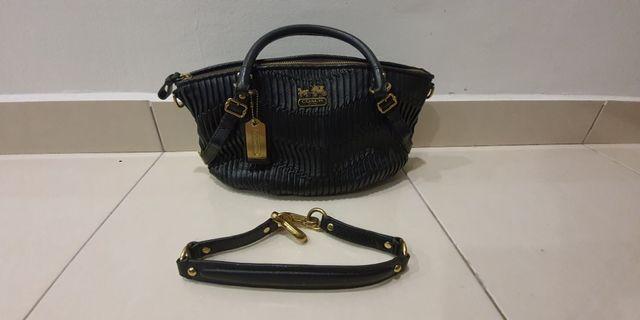 Coach Madison Sophia Black Gathered Italian Leather Medium Satchel 15942 MINT