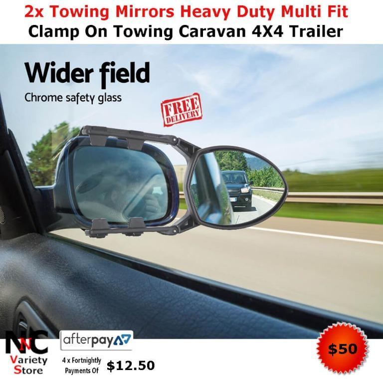 2x Towing Mirrors Heavy Duty Multi Fit Clamp On Towing Caravan 4X4 Trailer