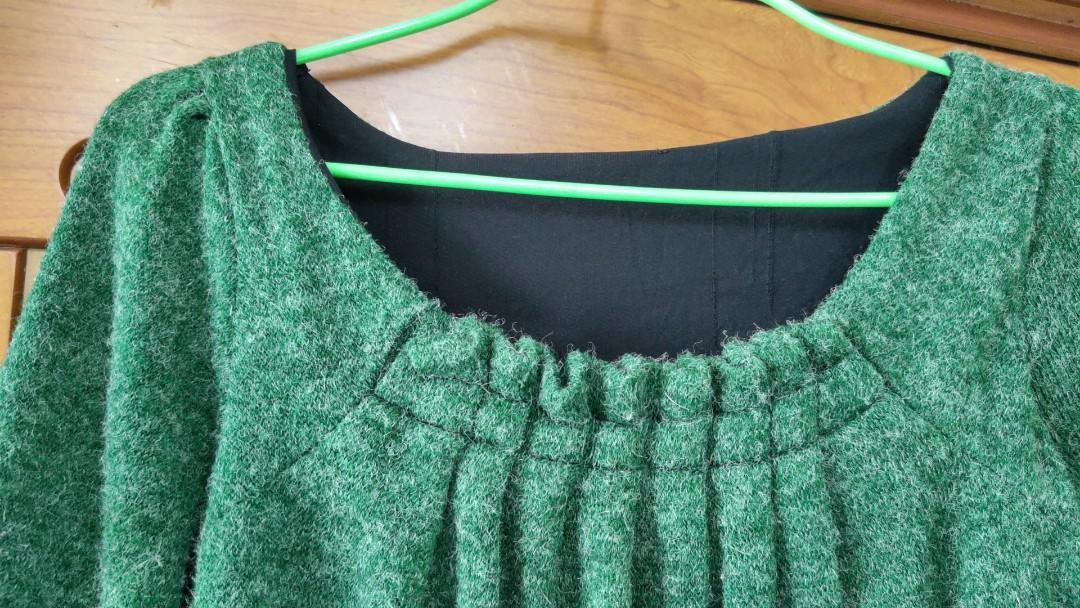 秋冬綠色豹紋下擺長版上衣