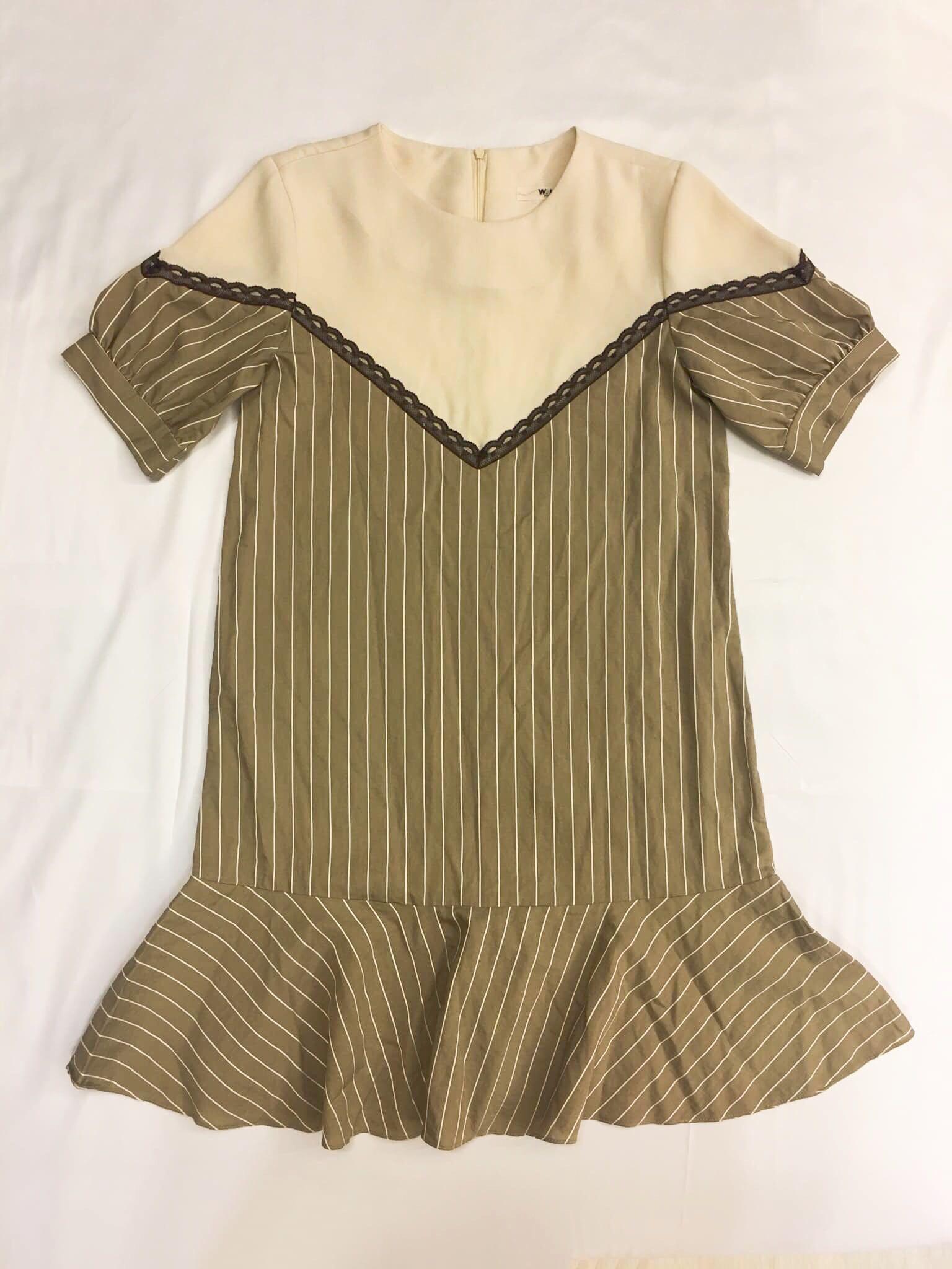 日系風  正韓魚尾蕾絲條紋連身洋裝