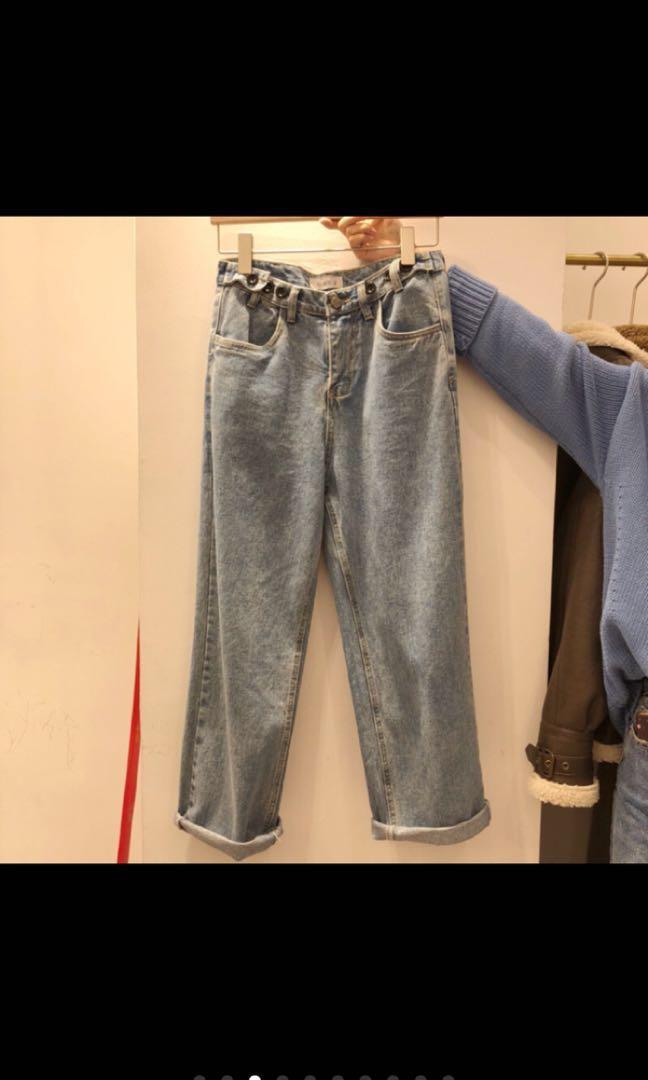 轉賣秘密島 調整型三釦牛仔直筒寬褲