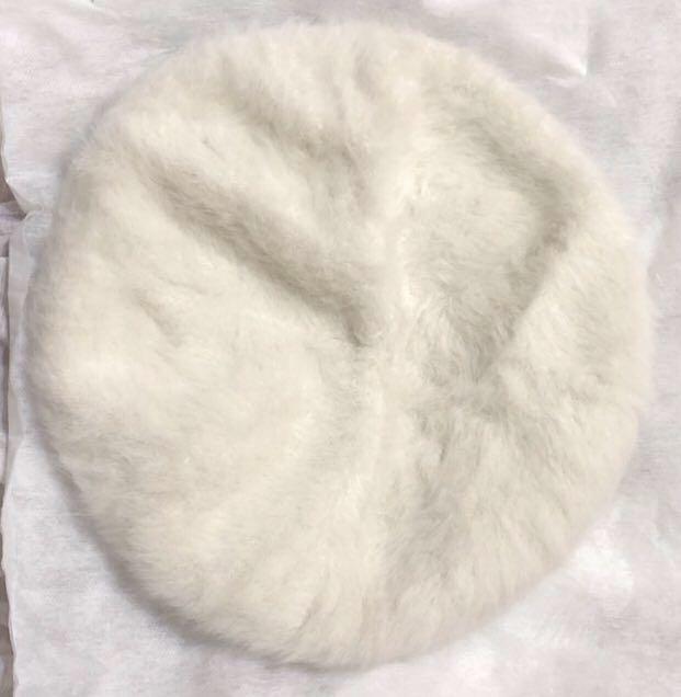 毛絨絨純白少女 貝蕾帽 畫家帽