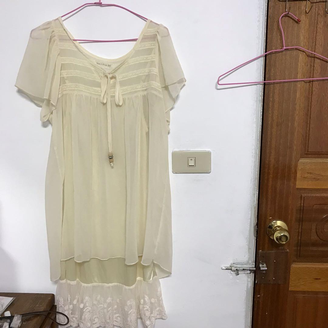 出清-黃色民族風兩件式雪紡長版上衣 連身裙 緞面蕾絲襯裙買衣送衣