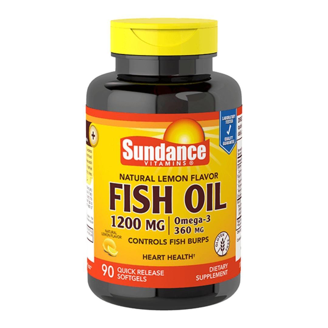 美國 Sundance 天然檸檬風味魚油 fish oil 1200mg with Omega-3 360 90 軟膠