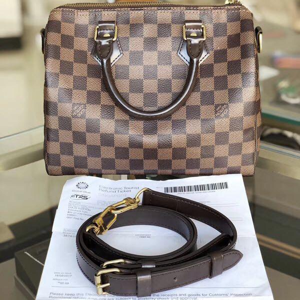 Authentic Pre-loved Louis Vuitton Speedy 25 Bandoulière Damier Ebene