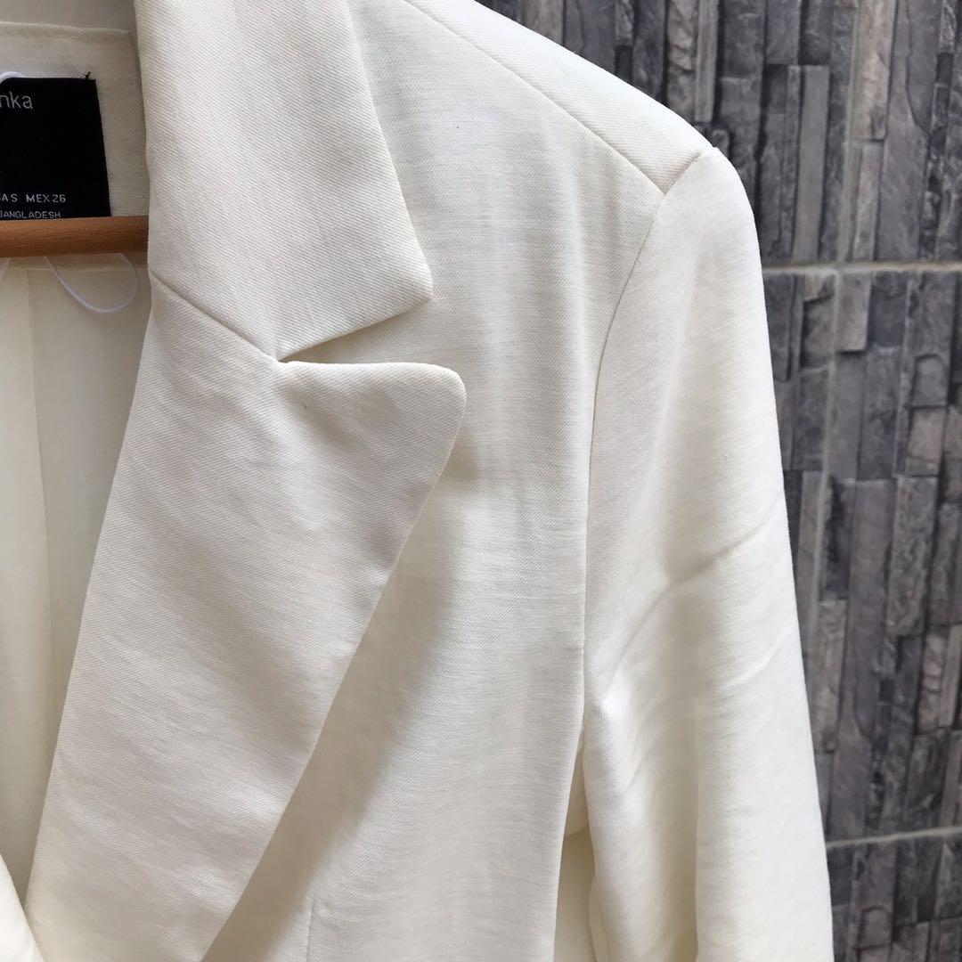 Bershka Off White Oversized Blazer