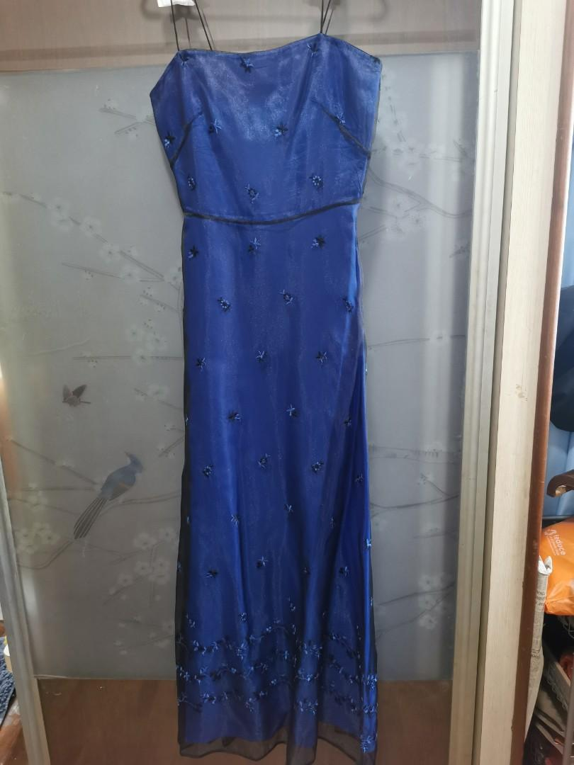 Blue chiffon Evening Gown