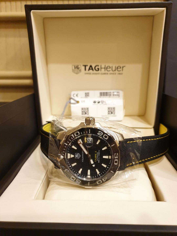 [BNIB] Tag Heuer Aquaracer Cal. 5 Black Dial Black Ceramic (Black and Yellow Nylon Strap) 41MM