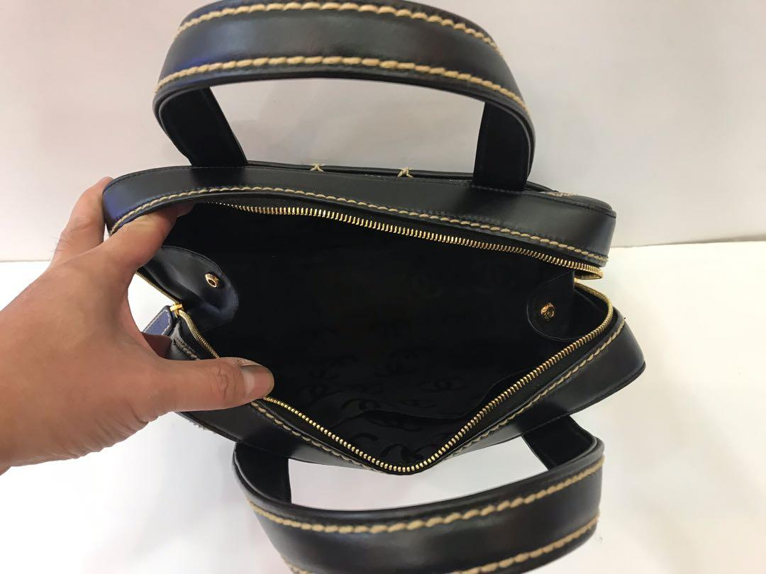 CHANEL BLACK STITCH TOP HANDLE BAG