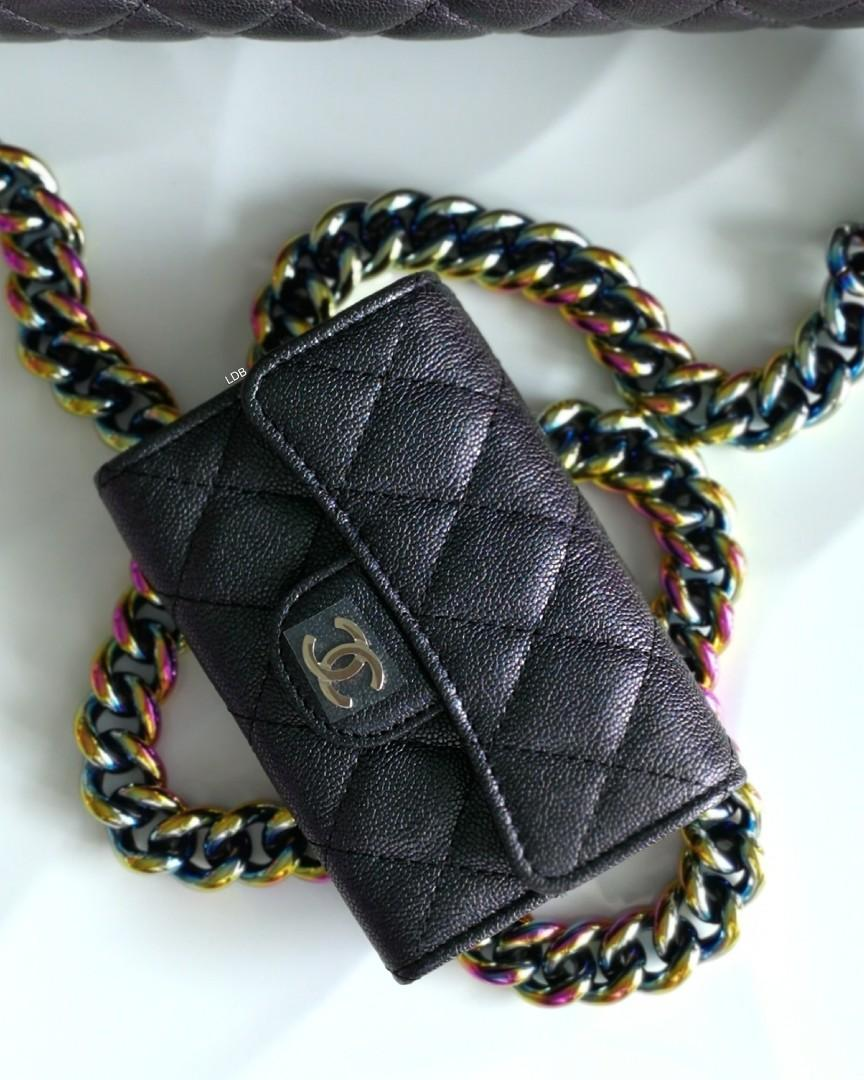 Authentic Chanel Classic Black Iridescent Light Gold Hardware Small Wallet / Coins Purse / Card Holder