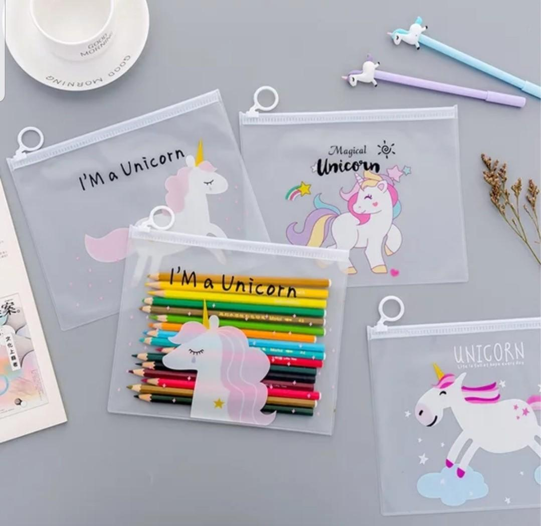 Children's Day gifts $2 & below! Ready Stocks! Unicorm transparent pencil case or pouch  @ $2 or 10 pcs & above @ $1.50 only!!!
