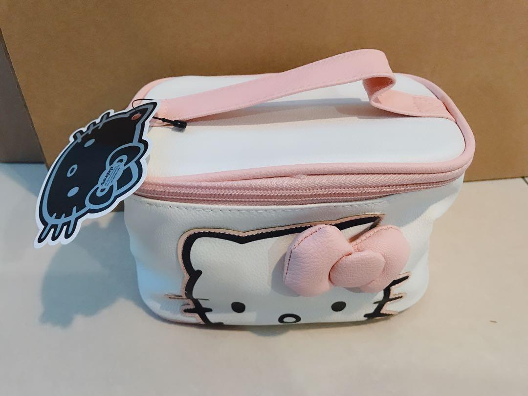 Claire's Original Hello Kitty By Sanrio Cute Pink Baby Girl Kids Women Cosmetic Makeup Bag Carry Bag Handle Pouch