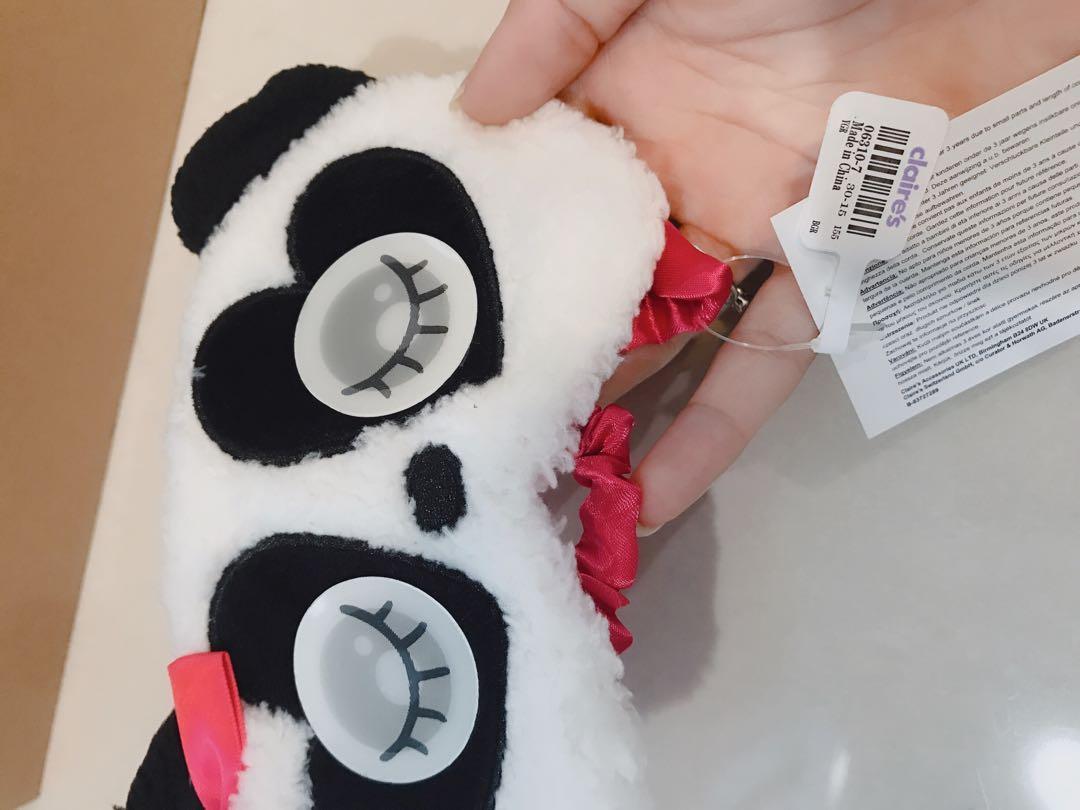Claire's Wanita Kids Baby Cute Black White Panda Double Image Eyes Changing Eye Wear Sleeping Mask Aeroplane