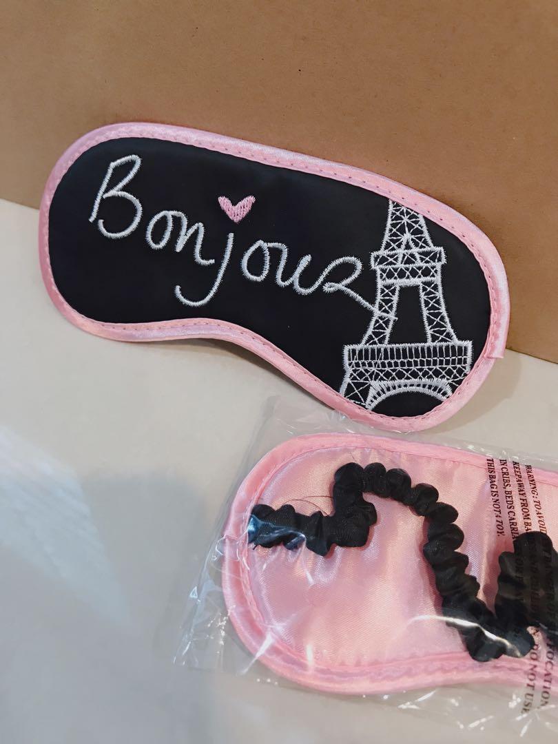 Claire's Wanita Women Kids Cute Embroidery Paris Eiffel Tower Bonjour Black Pink Cute aeroplane Sleeping Mask Eye Wear