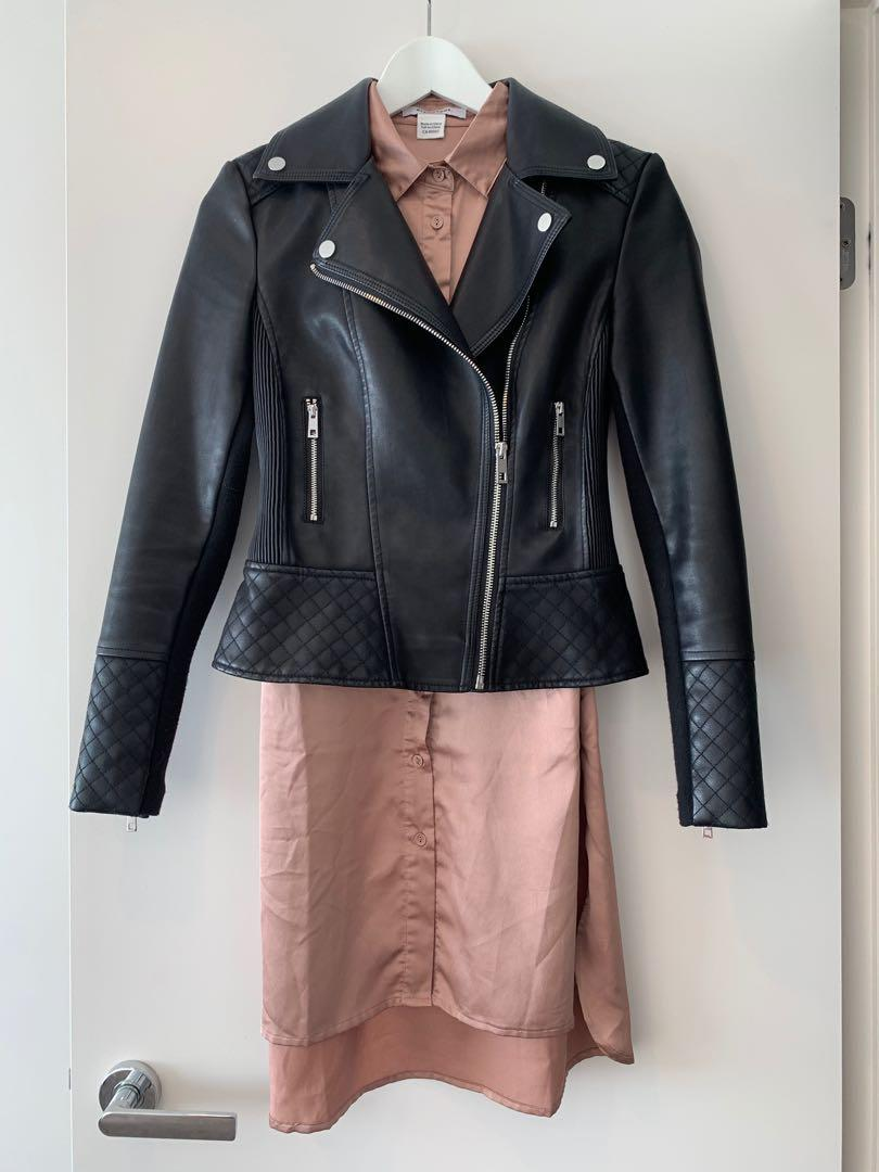 Forever New tailored fit biker faux leather jacket vegan