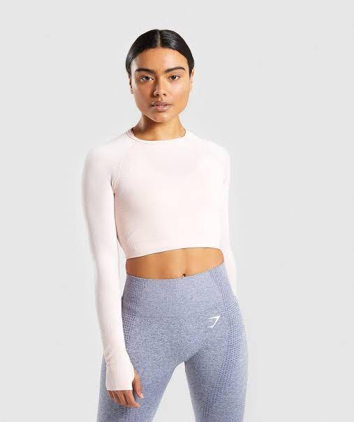 Gymshark Vital seamless crop top in Light Pink
