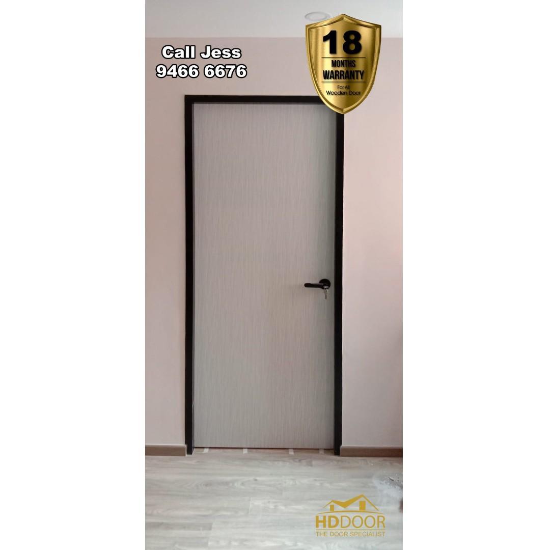 HDB Full Solid Wooden Bedroom Door with lever Handle Lock and Stopper