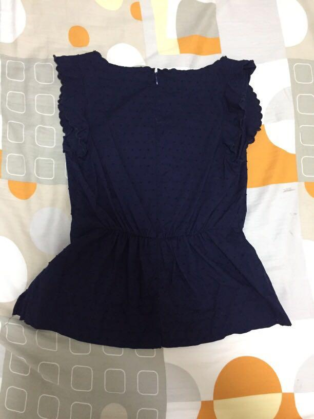 [J Crew] Blue top with dotted embroidery