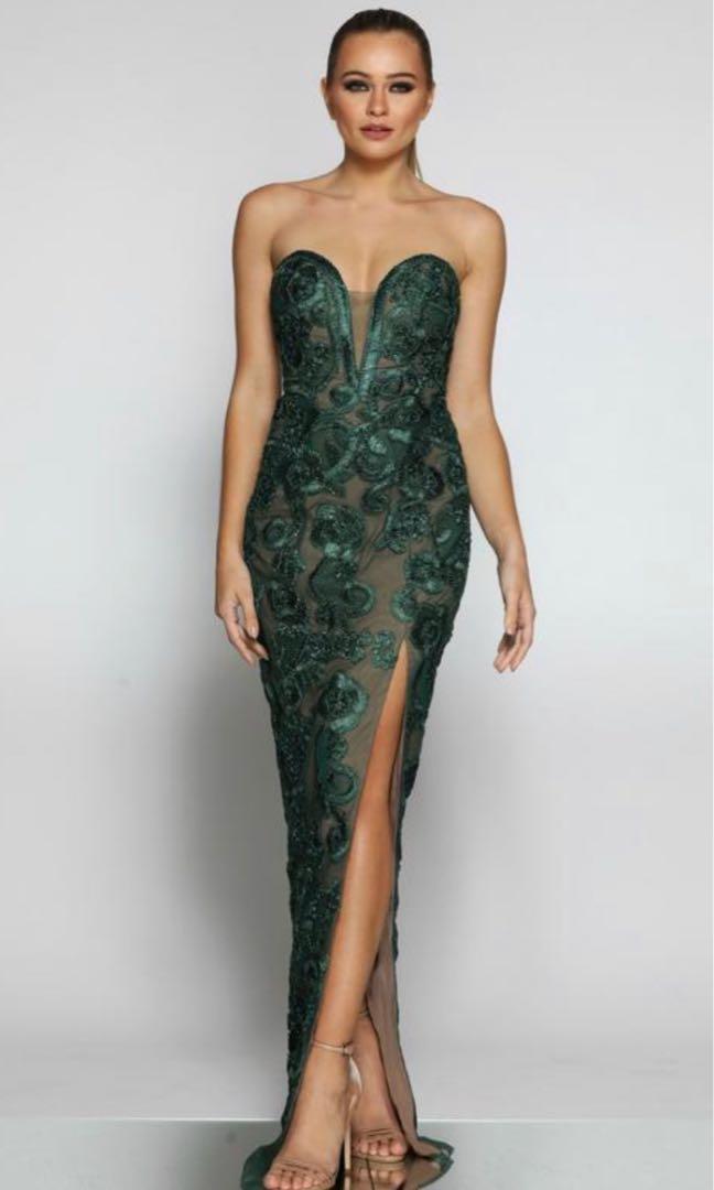 Jadore JX1067 Emerald Green & Nude Strapless Lace Midi Formal Dress