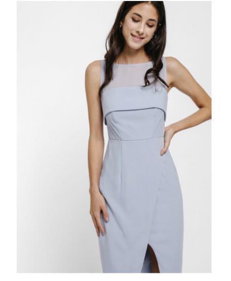 Love Bonito Faura Mesh Panel dress in blue