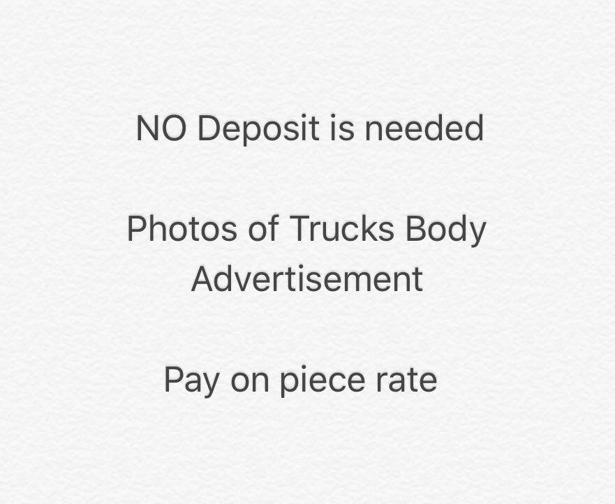 Part Time, take photos of Trucks Body Ad etc