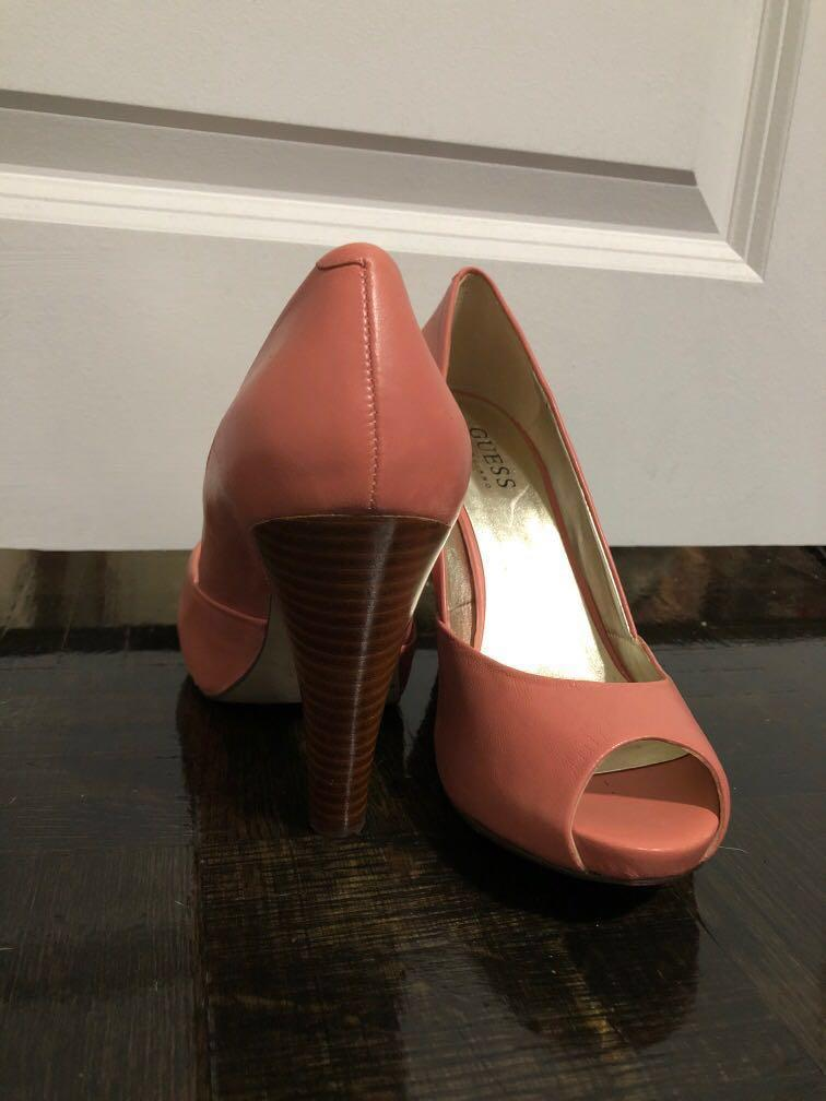 Peachy/salmon color Guess by Marciano peep toe heels