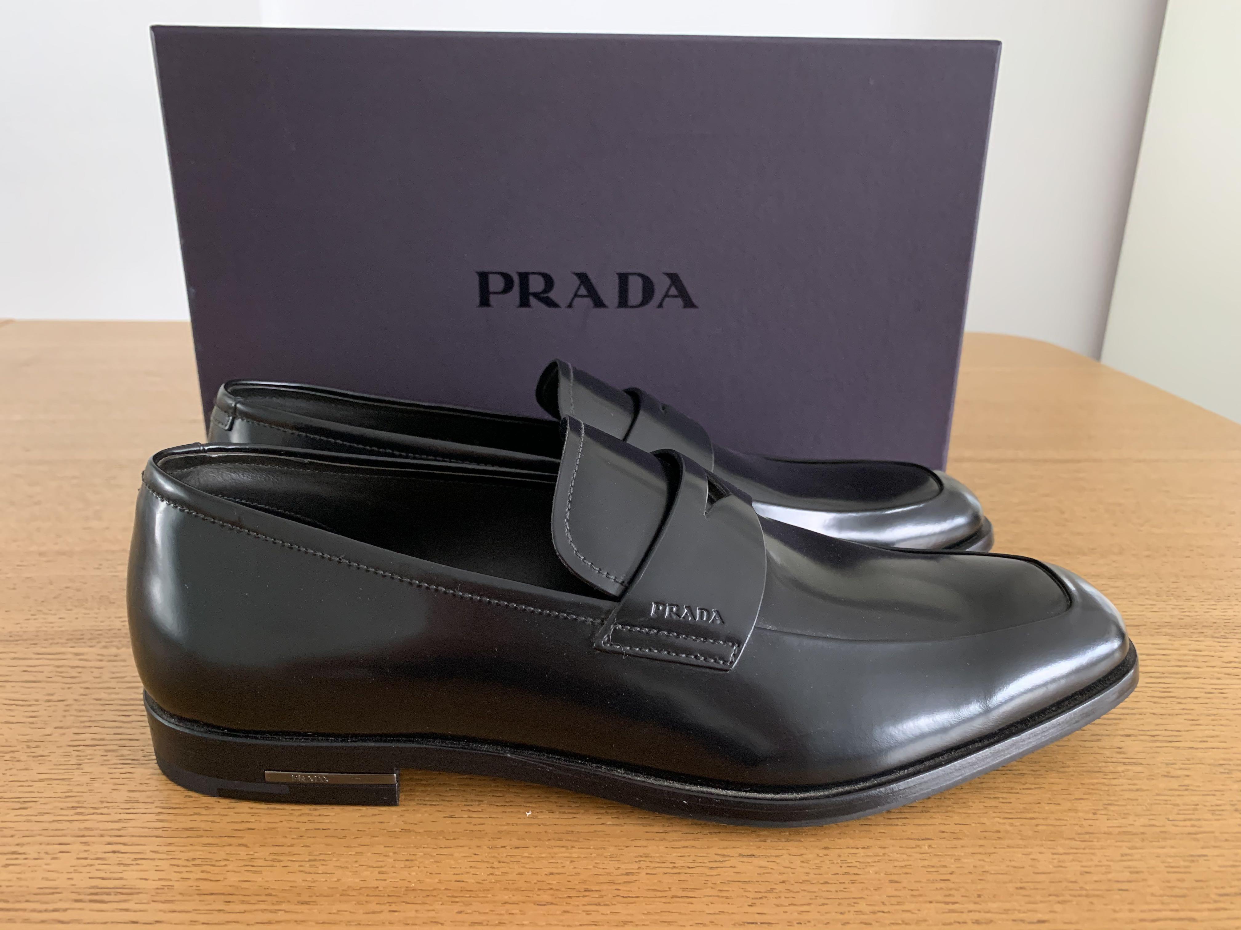 Prada men formal black shoes loafers
