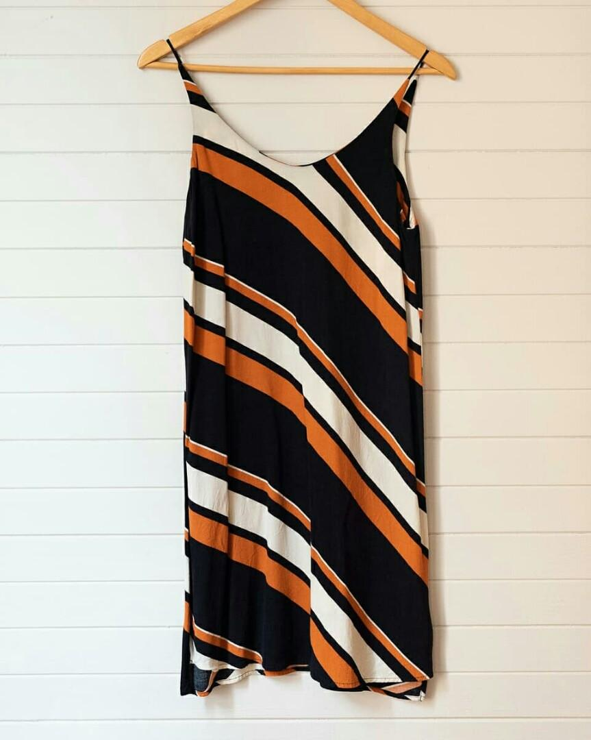TopShop rust and navy striped dress