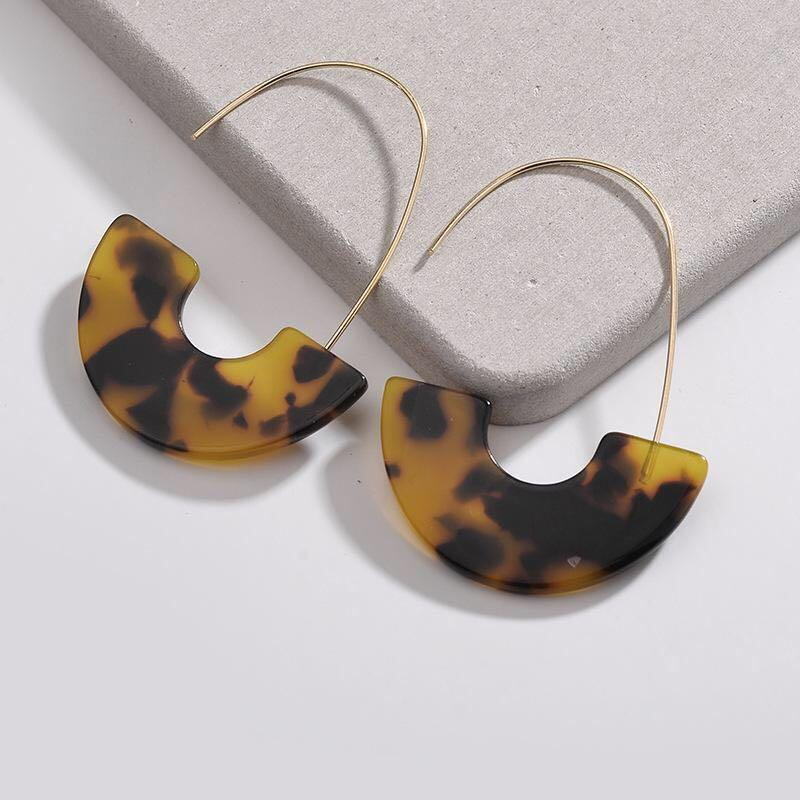 Tortoise Shell Acrylic Resin Hook Statement Earring