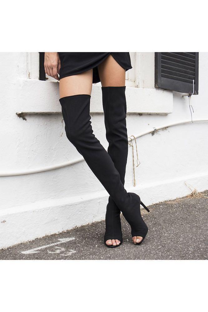 Windsor Smith Clement Boot knee high open toe black