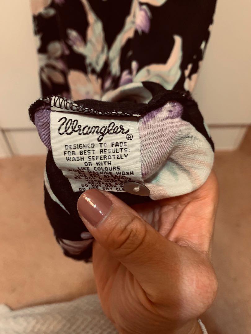 Wrangler Floral Black Button Up Summer Beach Dress Size 8