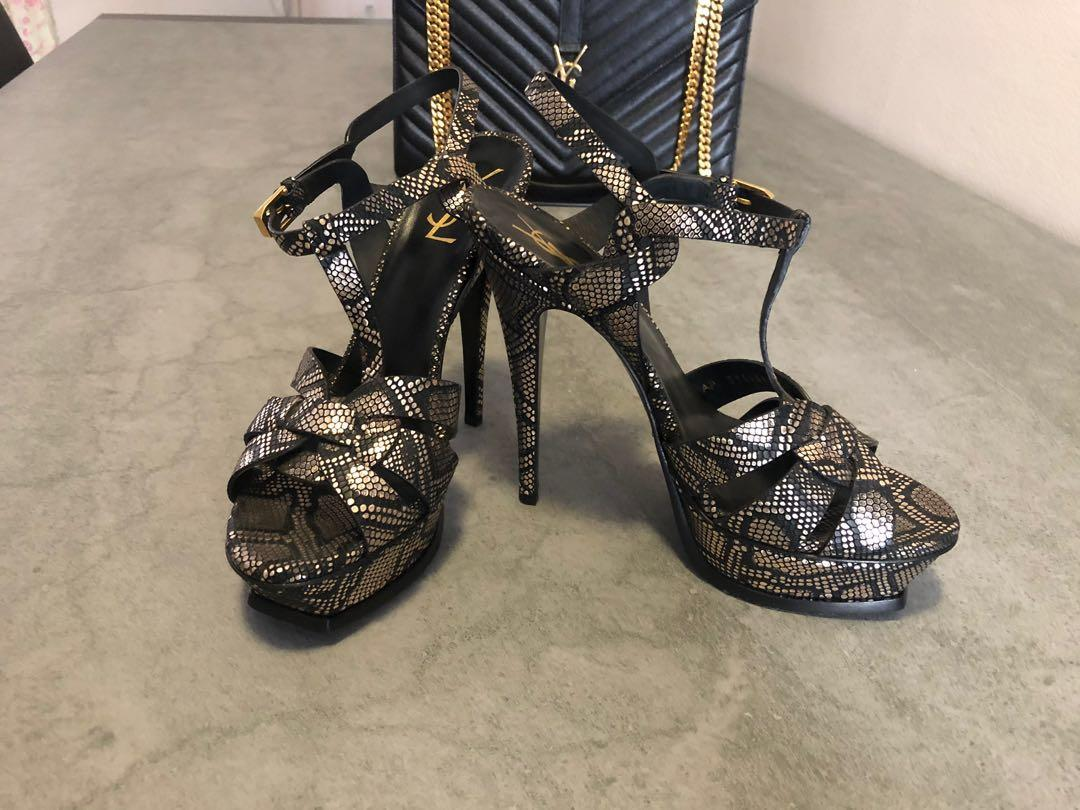 YSL Yves Saint Laurent Paris metallic black/gold python embossed leather tribute platform sandals
