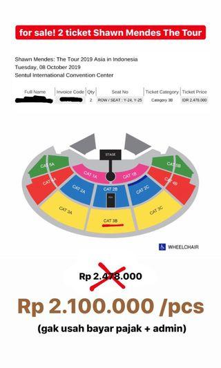 2 TIKET SHAWN MENDES THE TOUR CATEGORY 3B