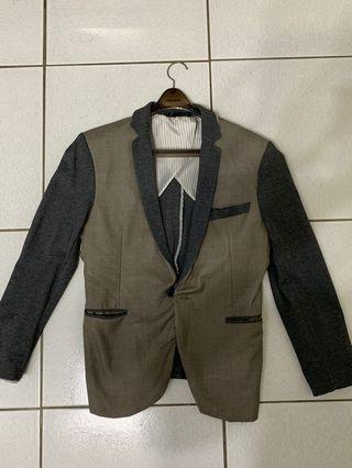 撞色西裝外套 時尚 百搭 灰色 gray suit jacket