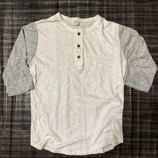 韓版七分袖文青風 正韓貨 撞色 Korean t-shirt