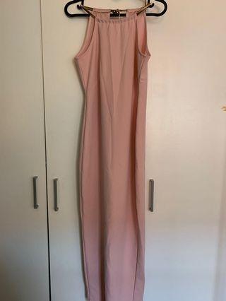 Halter neck Pink Long Slit Dress