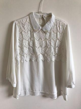 蕾絲設計感襯衫