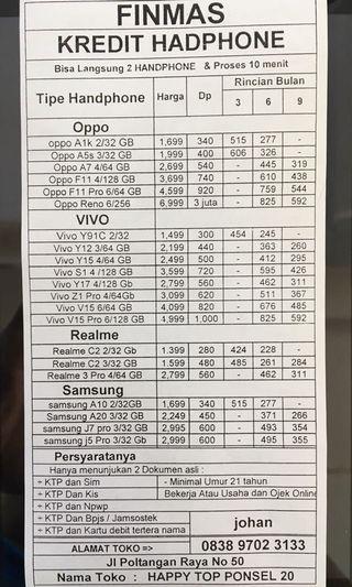 KREDIT Hadphone Oppo Vivo Realme Prosea Dari Finmas