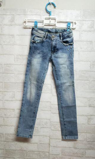 (童)Zara珍珠抓破牛仔褲